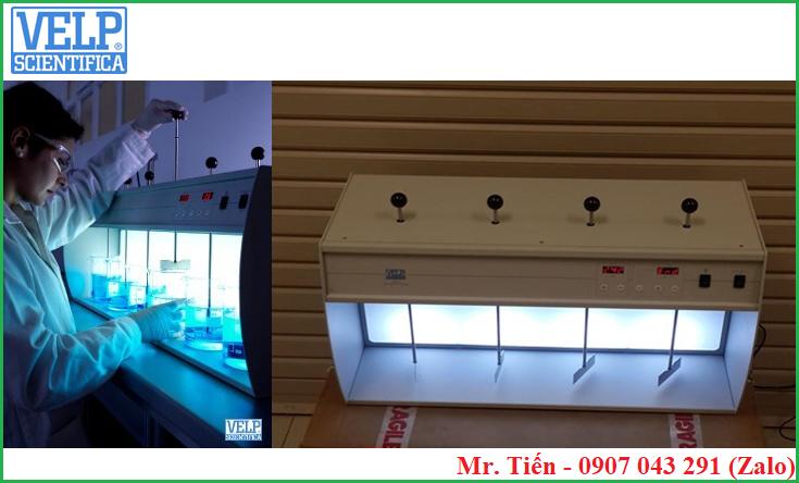Sau bảng điều khiển có đèn giúp dễ quan sát mẫu khi thực hiện phép thử Jar test