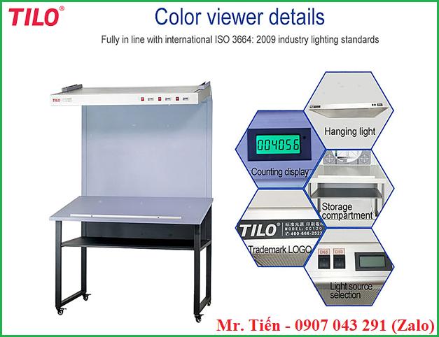 Bàn bóng đèn ánh sáng chuẩn kiểm tra màu sắc vải, sơn, bao bì,..... CC120A hãng Tilo