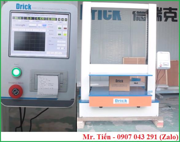 Máy kiểm tra lực nén thùng Carton DRK 123 Drick có máy in mini giúp in kết quả đo dễ dàng, tiện lợi