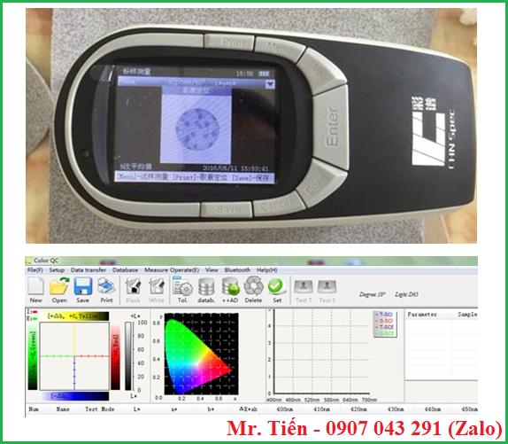 Máy quang phổ đo màu vải sơn Spectrophotometer CS-580 có camera và phần mềm kết nối máy tính
