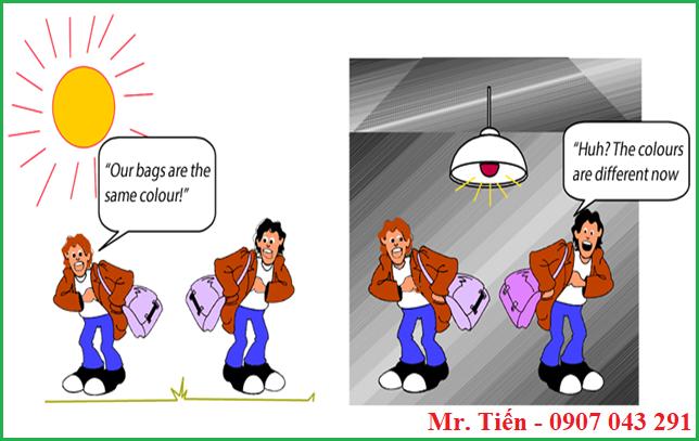Sự khác biệt màu sắc do hiện tượng Metamerism